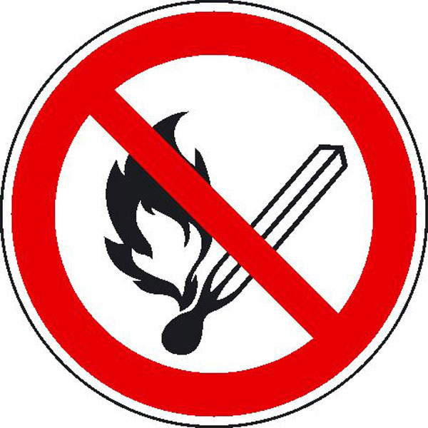 Prohibition sign - No open flame, fire, open source of ignition and smoking prohibited.