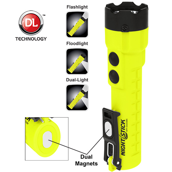 XPP-5422GMX Green Safety Rated LED Flashlight ,  210 Lumen ,  Dual light ,  Magnet