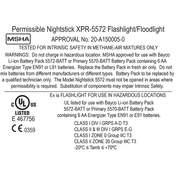 XPR-5572R Intrinsically Safe Dual-Light™ Angle Light ,  200 Lumen ,  Red ,  Rechargeable