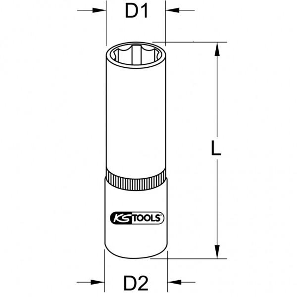 BRONZEplus Stecknuss 1/2 16mm 6-kant lang