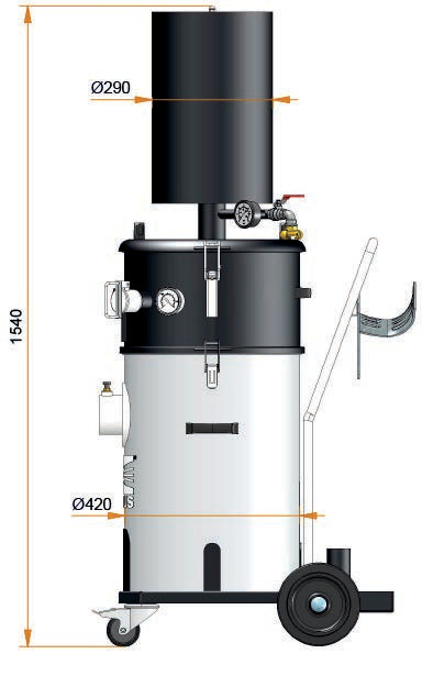 DDS-207-REC-H Compressed air vacuum cleaner ATEX suction port 88mm