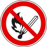 Verbotsschild - Keine offene Flamme, Feuer, offene Zündquelle und Rauchen verboten